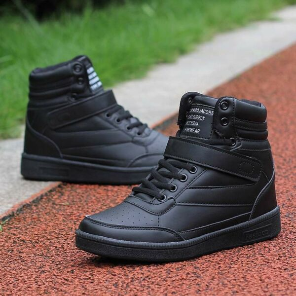 Women's Athletic Shoes High Top Sneakers Hidden Wedge Heel Casual Trainers Comfy