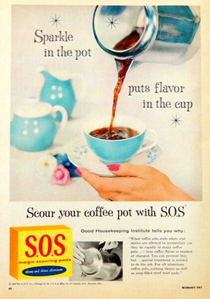 Vintage 1956 S.O.S sos kitchen cleaner coffee pot advertisement print ad art