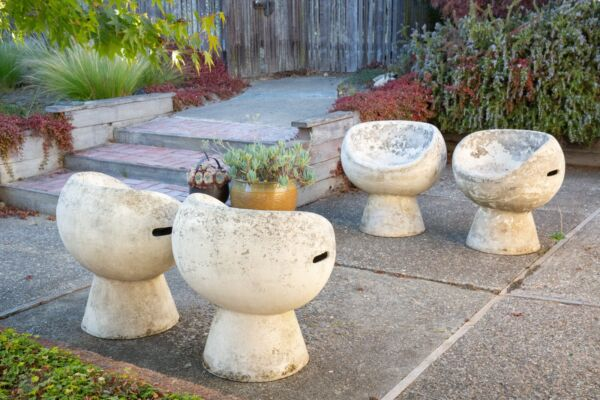 Set of 4 Willy Guhl Concrete Pod Chairs