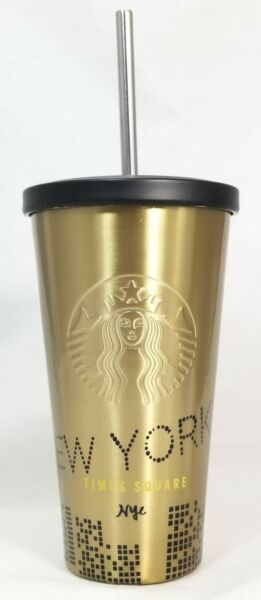 Starbucks Coffee Gold Grande NYC New York Times Square Stainless Travel Tumbler