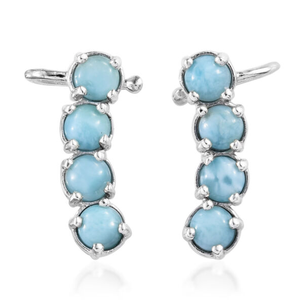 Larimar Climber Wrap Ear Cuff Earrings Platinum Over 925 Sterling Silver Ct 5.2