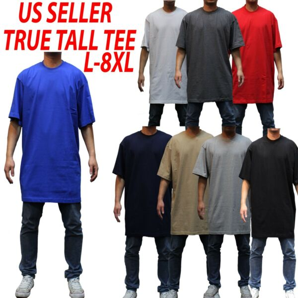 Big and tall tee SS T-shirts Crew Neck Men Heavy Weight Plain  Solid 8OZ Tall 3