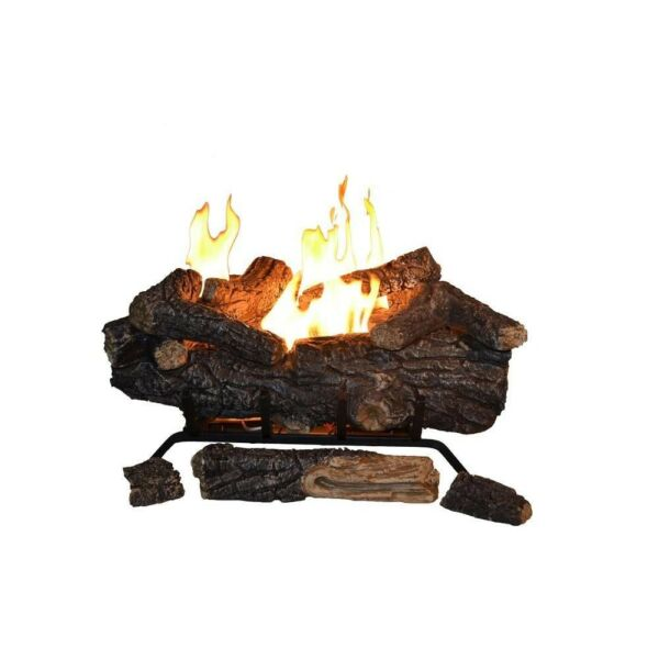 Savannah Oak 24 in. Vent-Free Propane Gas Fireplace Logs w Remote By Emberglow