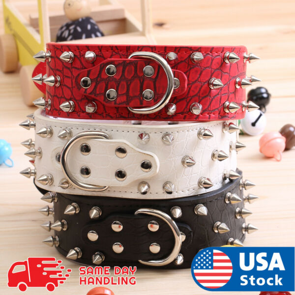 PU Faux Synthetic leather spiked Rivet dog collar Rivet FOR LARGE Dog pitbull $12.98