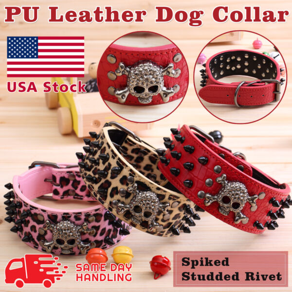 Skull Metal Studded Spiked Rivet Large Dog Collar PU Leather Collar Shepherd $9.98