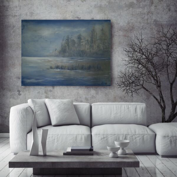 Landscape Soft Original Modern Painting Blue Lake Texture Palette Knife Anya