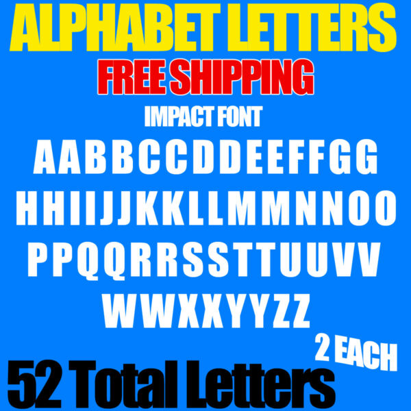 Alphabet Letters Decals IMPACT 1 2quot; 3 4quot; 1quot; up to 5quot; sizes FREE SHIP STICKERS