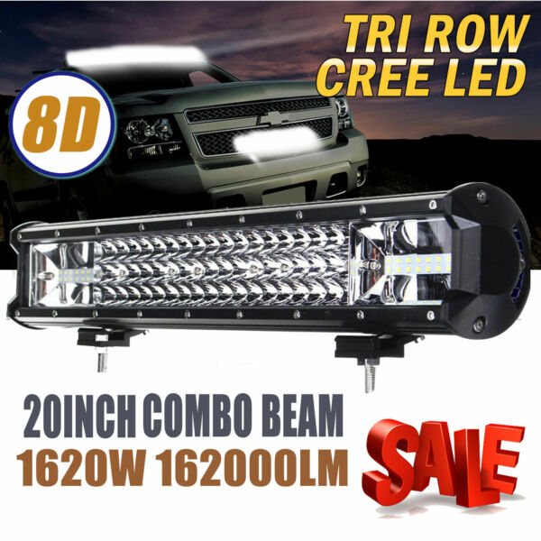 12quot; Inch CREE LED Work Light Bar 780W Flood Spot Combo Offroad Driving Lamp US