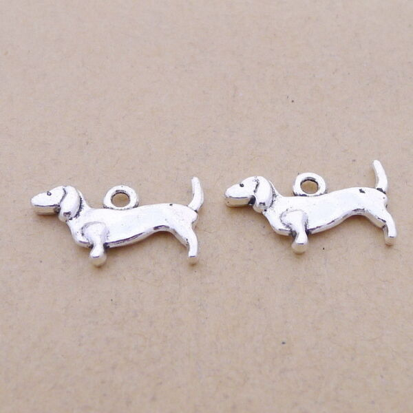 20pcs Pet Dachshund Sausage Dog Charms Tibetan Silver Beads Pendant DIY 18*10mm $1.58