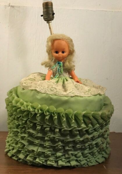 Vintage Kitschy Table Lamp Southern Belle Green Dress Lace Doll