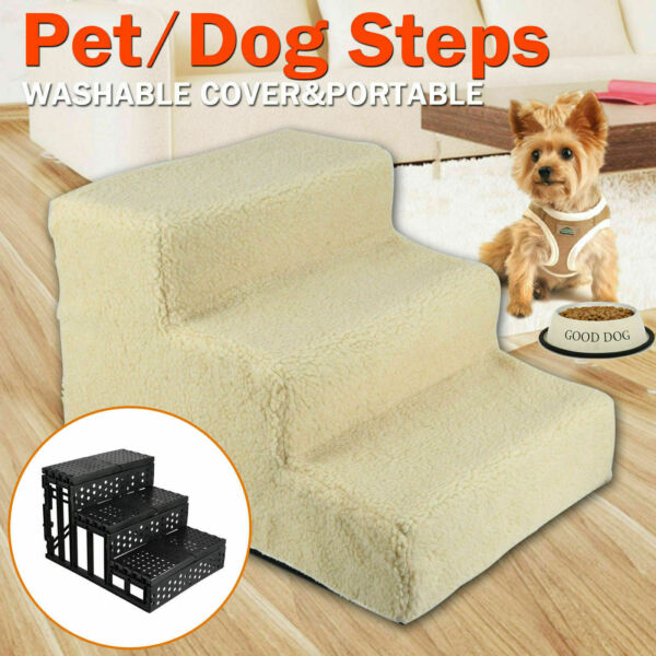 Pet Stairs Cat Dog 3 Laddar Step Ramp Climb For Paly Indoor Outdoor Beige
