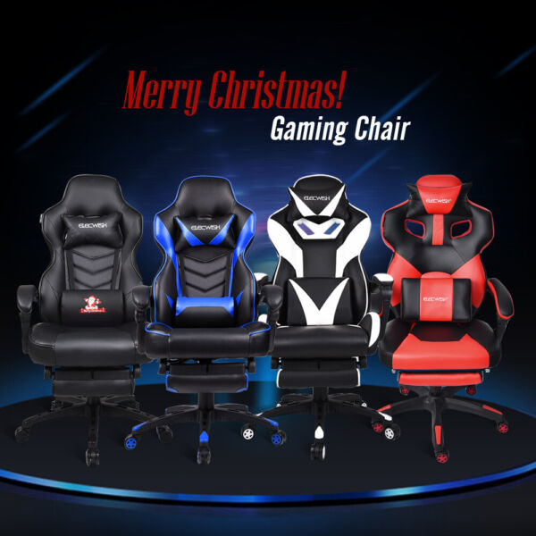 Video Racing Gaming Chair Ergonomic PU Leather High Back Recliner Computer Seat