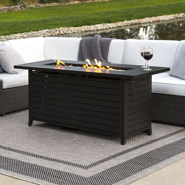 Heavy-Duty Aluminum Outdoor Large Rectangular Propane Gas Fire Pit Table wCover