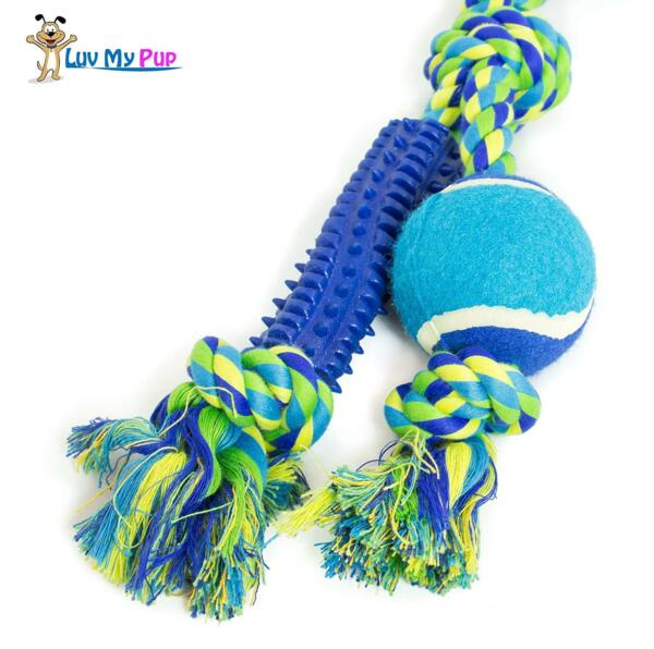 ROPE DOG TOY W BALL & RUBBER SPIKES.  21