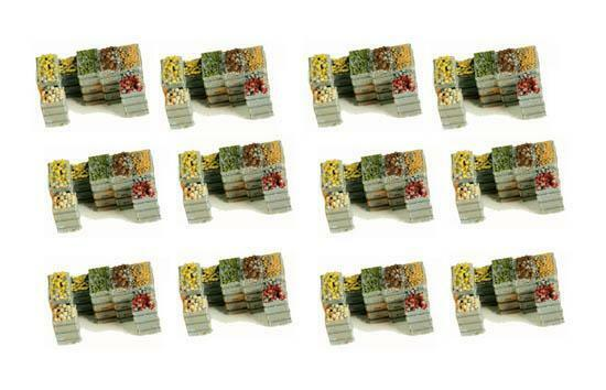 Fruit and Produce Crates BULK PACK of 12 with Produce Painted N Scale