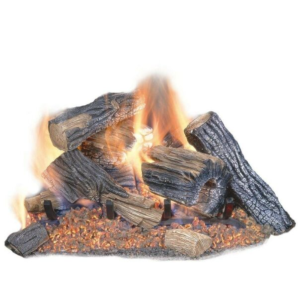 Burnt River Oak 24 in. Vented Dual Burner Natural Gas Fireplace Logs