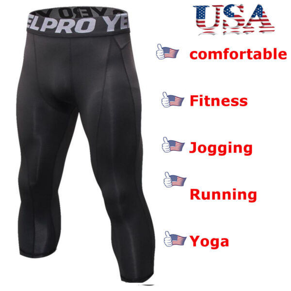 Men Compression Shorts 34 Cropped Pants Gym Clothes Base Layers Running Tights