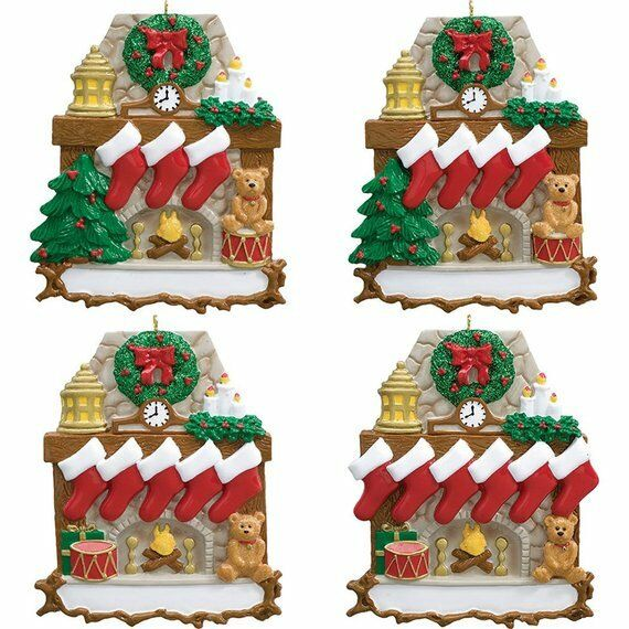 NAME PERSONALIZED New Fireplace Stockings Family of 2 3 4 5 6 Christmas Ornament
