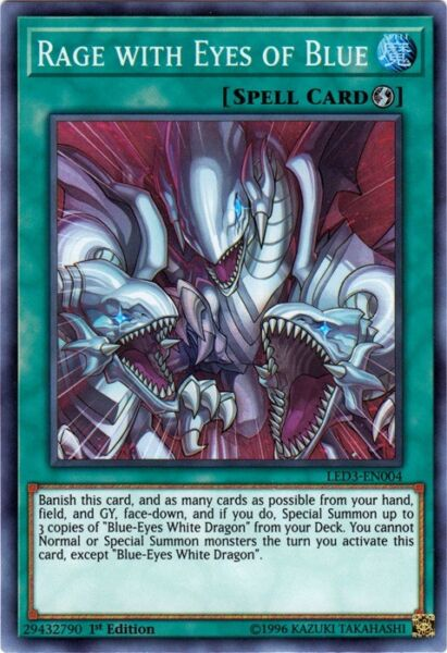 Yugioh! Rage with Eyes of Blue - LED3-EN004 - Super Rare - 1st Edition Near Mint