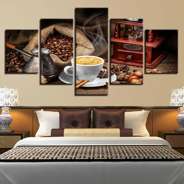Coffee Cup Sacks Of Beans 5 Piece Canvas Print Wall Art