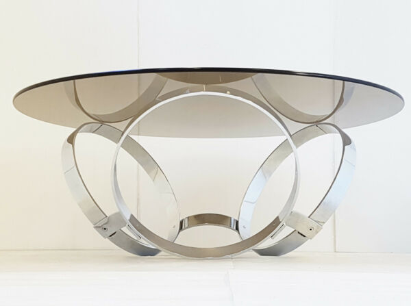 COFFEE TABLE ROUND TO THE RINGS CHROME 1970 SPACE AGE VINTAGE 70S 70'S POP