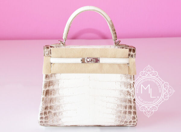 NEW HERMES 25 BLANC HIMALAYAN KELLY HIMALAYA WHITE CROCODILE BAG BIRKIN HANDBAG