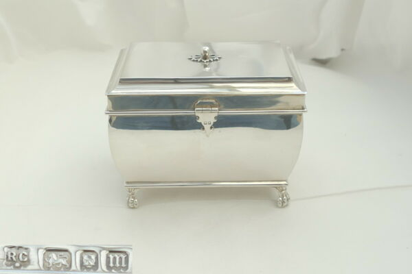 RARE LARGE GEORGE V HM STERLING SILVER 4 FOOTED TEA CADDY 1927