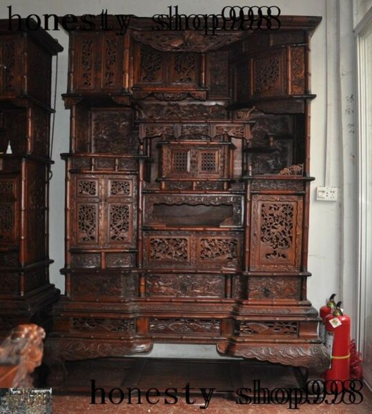 Chinese huanghuali wood carving Phoenix bat Classical furniture Storage cabinet