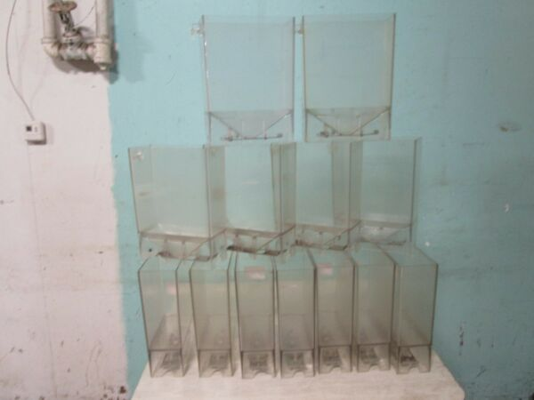 LOT OF (13) H.D. COMMERCIAL ACRYLIC BULK COFFEE BEANSGRAINS DISPLAY DISPENSER