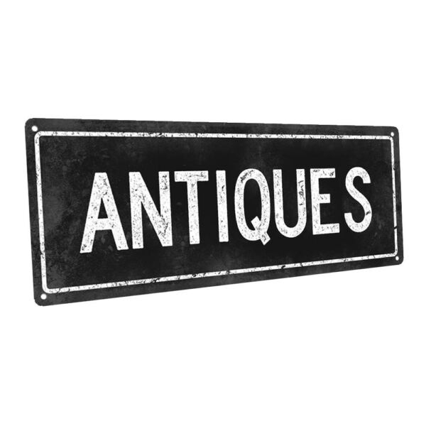 Black Antiques Metal Sign; Wall Decor for Home and Office