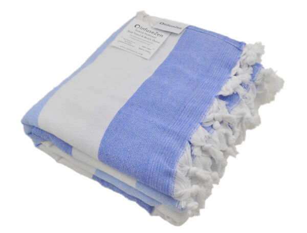 Turkish Towel for the Beach or Bath with a Soft Terry Cloth Back Blue