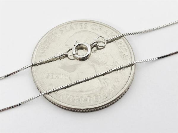 14K 16quot; Solid White Gold Thin Dainty Classic BOX Necklace Chain .5mm 14K Gold $49.98