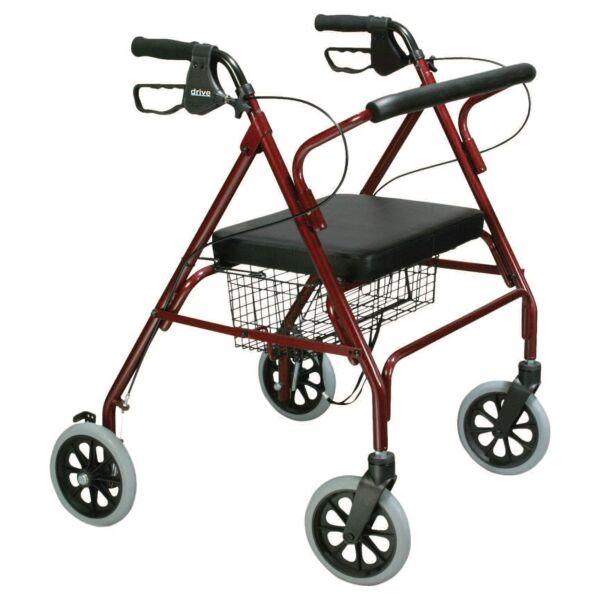 drive Go-Lite Bariatric Rollator 500 lbs. Steel 35.25 to 39.5 Inch Handle Height