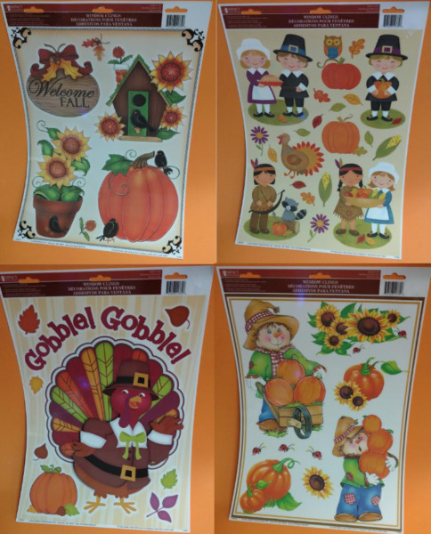 Impact Innovations Fall Harvest Thanksgiving Themed Window Clings - Choose Style