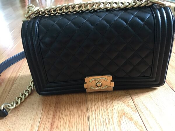 Authentic NEW 2016 Chanel Le Boy black Lambskin quilt old medium