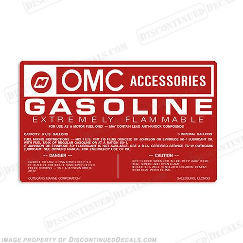 OMC 6 Gallon Fuel Tank Decal Gas Set of Two