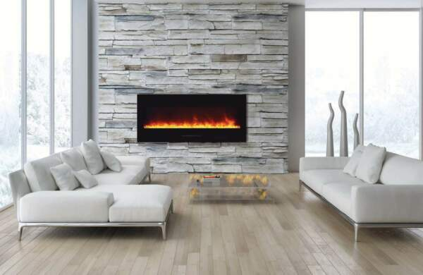 Amantii Wall Mount  Flush Mount Series Electric Fireplace with Log Set 50