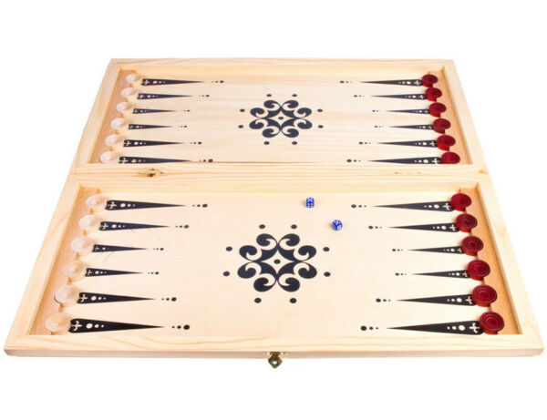 24quot; Large Classic Backgammon Set in Wooden Folding CaseCHECKERSHunters at Rest