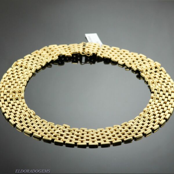 DESIGNER FOPE 5 ROWS WIDE PANTHER NECKLACE 152.5 GM. SOLID 18K YELLOW GOLD ITALY