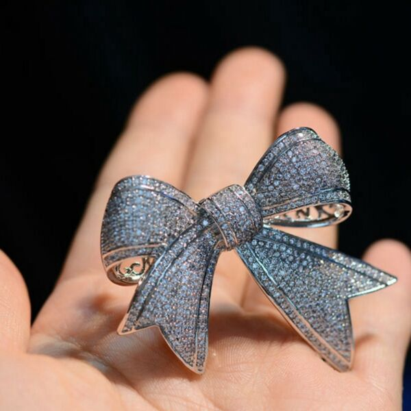 Victorian Vintage Silver Tone Full Micro Pave Clear CZ Ribbon Bow Brooches Pins