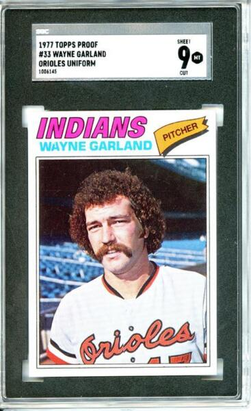 1977 Topps #33 Wayne Garland 9 card progressive proof. un-issued image. 15a