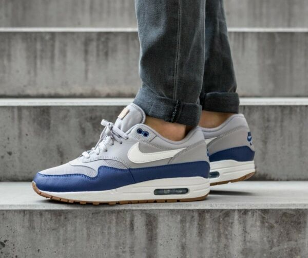 Nike Air Max 1 Premium Grey/Blue/White Men's Shoes Lifestyle Comfy Sneakers