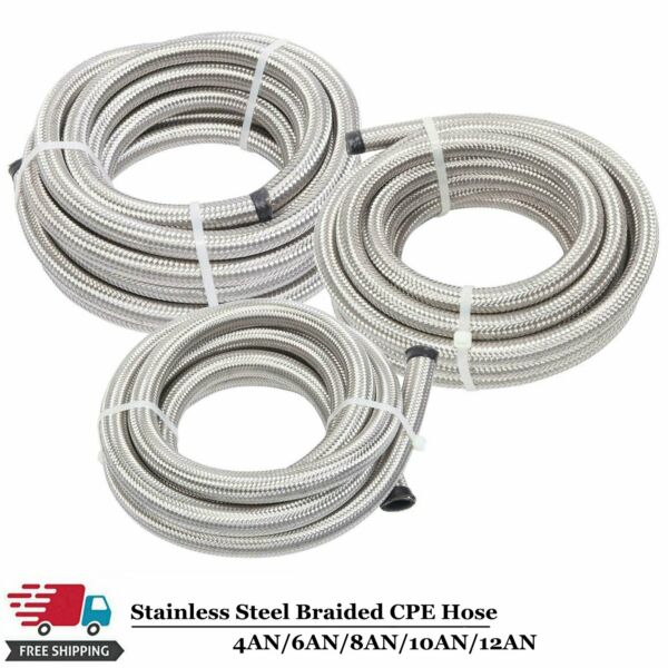 4AN 6AN 8AN 10AN 12AN Fuel Oil Gas Hose Line Stainless Steel Braided Silver AN