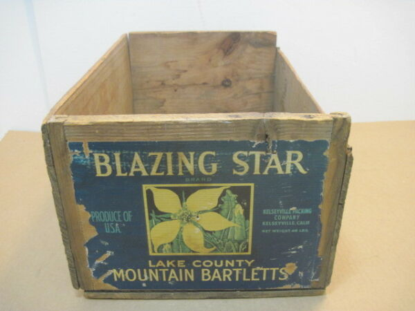 OLD WOOD BLAZING STAR MOUNTAIN BARTLETT FRUIT PRODUCE BOX CRATE ADVERTISING
