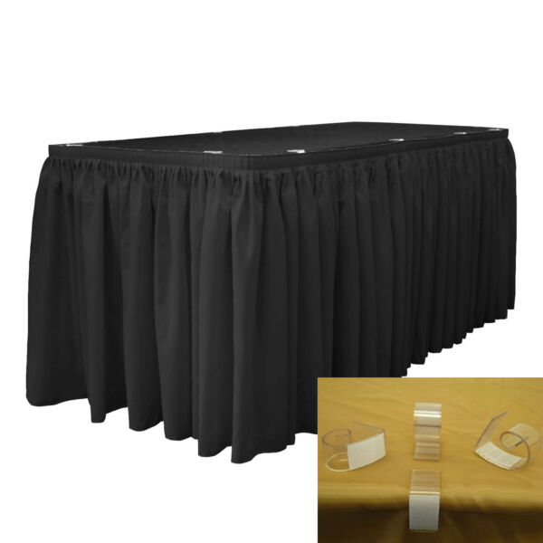 LA Linen Polyester Poplin Table Skirt 17-Foot by 29-Inch Long with 10 L-Clips