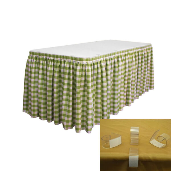 LA Linen Polyester Gingham Checkered Table Skirt 14-Foot by 29-Inch Long with...