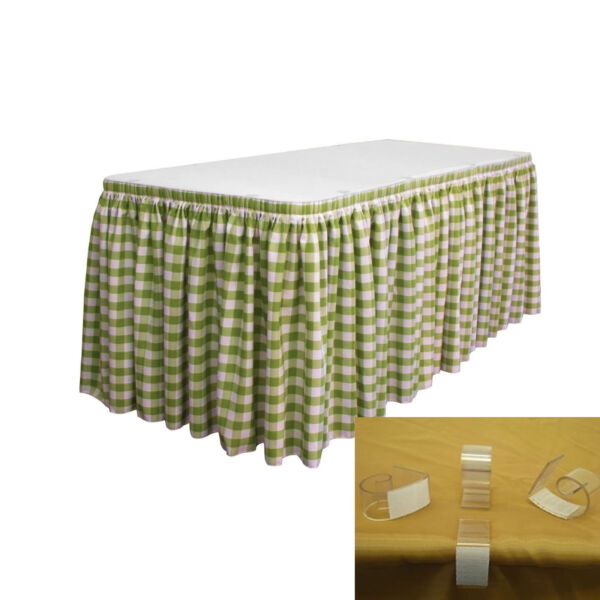 LA Linen Oversized Checkered Table Skirt 30-Foot by 29-Inch Long with 15 L-Clips