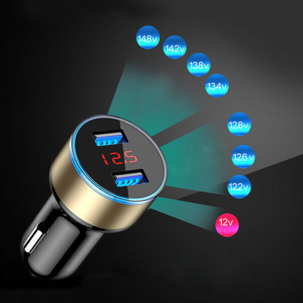 3.1A Dual USB 12-24V Car Charger 2 Port LCD Display Cigarette Socket Lighter