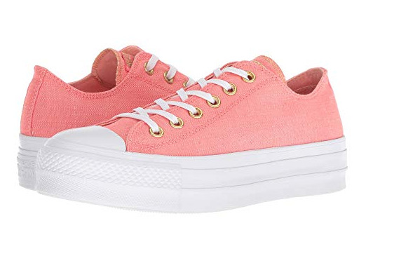 Converse Women's platform lift sneakers Pink Canvas Lo Tops 560675C Chuck Taylor
