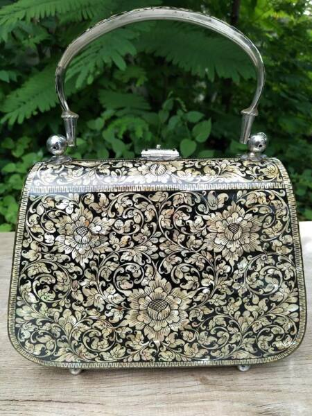 Vintage Asian Black Lacquer Wood Box Purse Inlaid w Mother of Pearl